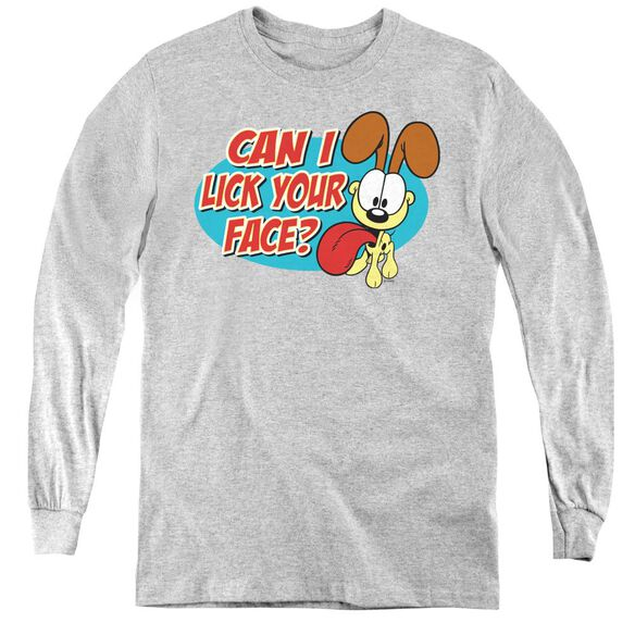 Garfield Question - Youth Long Sleeve Tee - Athletic Heather