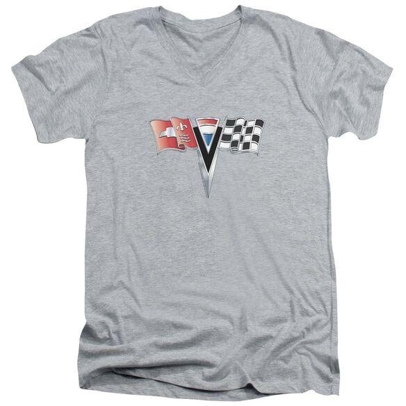 Chevrolet 2 Nd Gen Vette Nose Emblem Short Sleeve Adult V Neck Athletic T-Shirt