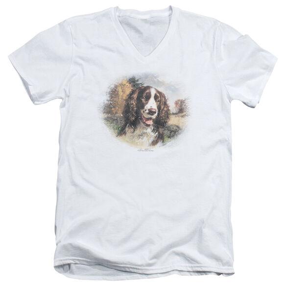 WILDLIFE SPRINGER SPANIEL HEAD - S/S ADULT V-NECK - WHITE T-Shirt