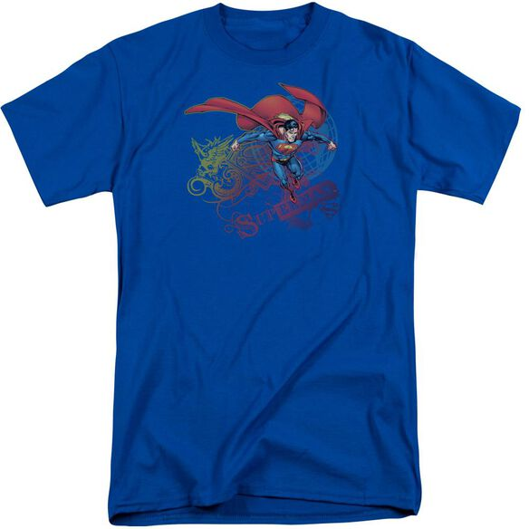 Superman Cool Word Supes Short Sleeve Adult Tall Royal T-Shirt