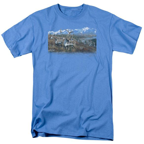 Wildlife Caribou Short Sleeve Adult Carolina Blue T-Shirt