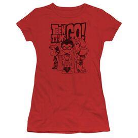 Teen Titans Go Team Up Short Sleeve Junior Sheer T-Shirt