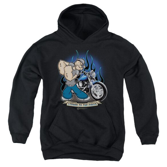 Popeye Biker Popeye Youth Pull Over Hoodie