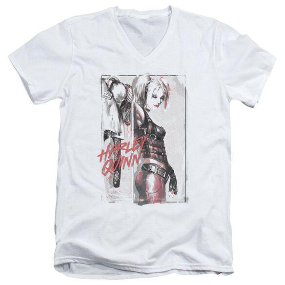 Batman Ink Wash Harley Short Sleeve Adult V Neck T-Shirt