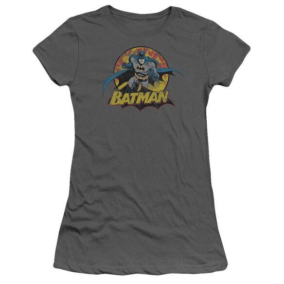 Jla Batman Rough Distress Short Sleeve Junior Sheer T-Shirt