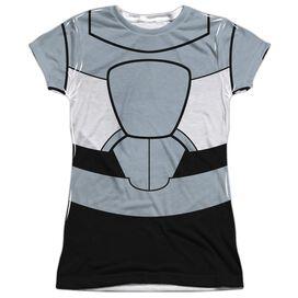 Teen Titans Go Cyborg Uniform Short Sleeve Junior Poly Crew T-Shirt