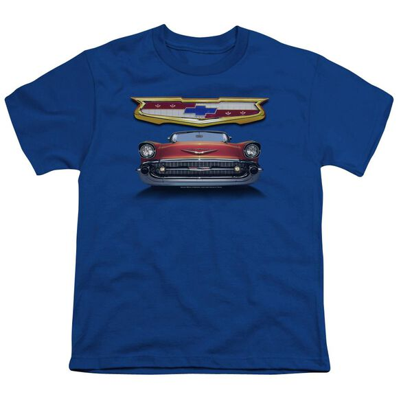 Chevrolet 1957 Bel Air Grille Short Sleeve Youth Royal T-Shirt
