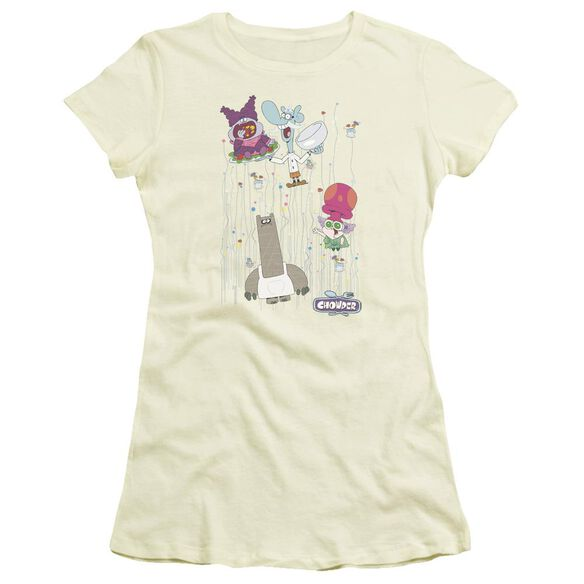 Chowder Dots Collage Short Sleeve Junior Sheer T-Shirt