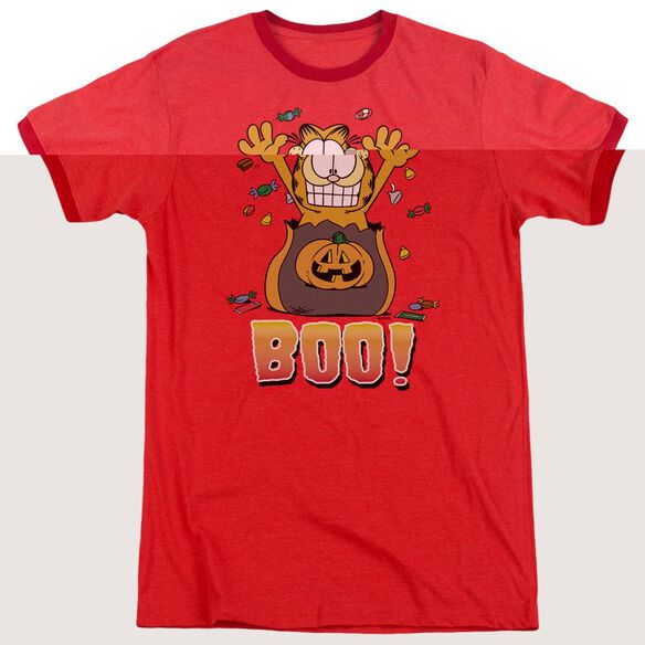 Garfield Boo! - Adult Heather Ringer - Red