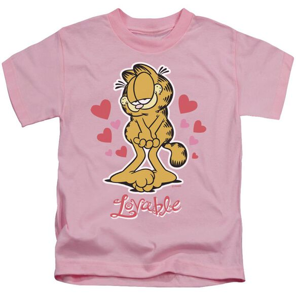 Garfield Lovable Short Sleeve Juvenile Pink Md T-Shirt