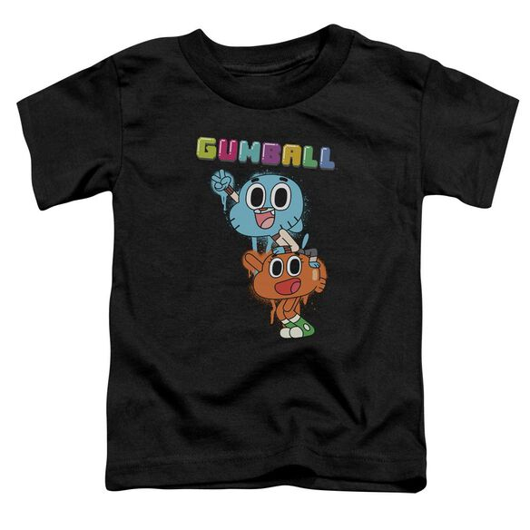 Amazing World Of Gumball Gumball Spray Short Sleeve Toddler Tee Black T-Shirt