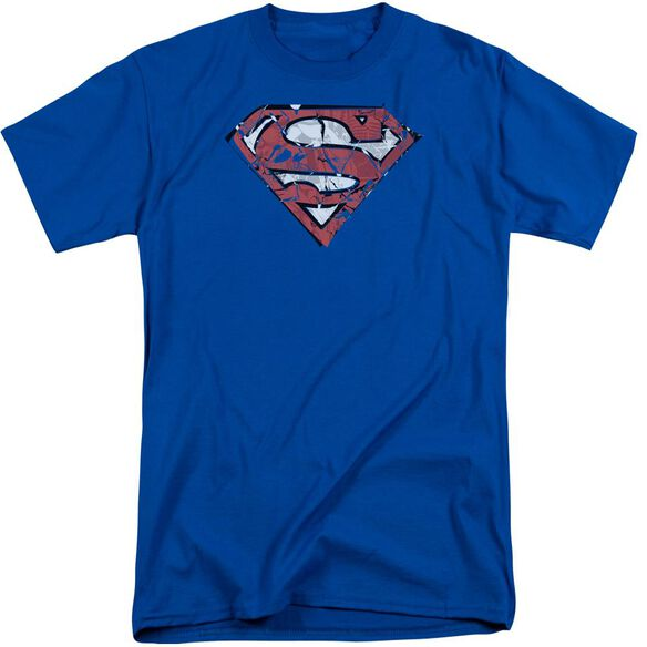 Superman Ripped And Shredded Short Sleeve Adult Tall Royal T-Shirt