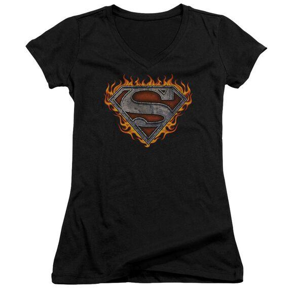Superman Iron Fire Shield Junior V Neck T-Shirt