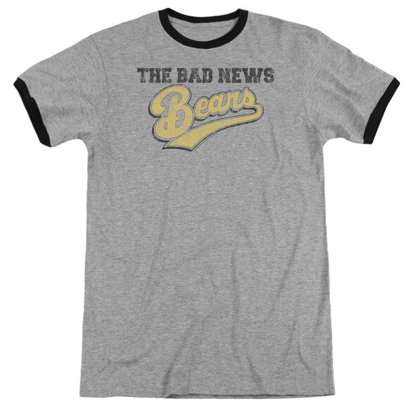 Bad News Bears Logo Adult Ringer Heather Black