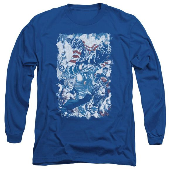 Jla American Justice Long Sleeve Adult Royal T-Shirt