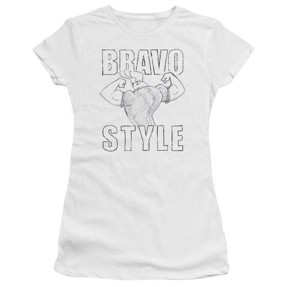 Johnny Bravo Bravo Style Short Sleeve Junior Sheer T-Shirt
