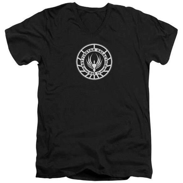 BSG GALACTICA BADGE - S/S ADULT V-NECK - BLACK T-Shirt