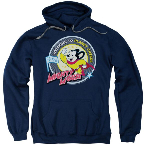Mighty Mouse Planet Cheese Adult Pull Over Hoodie