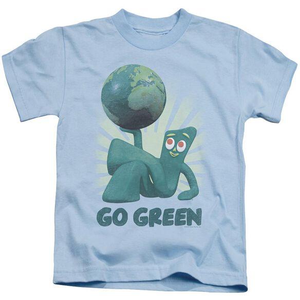 Gumby Go Green Short Sleeve Juvenile Light Blue T-Shirt
