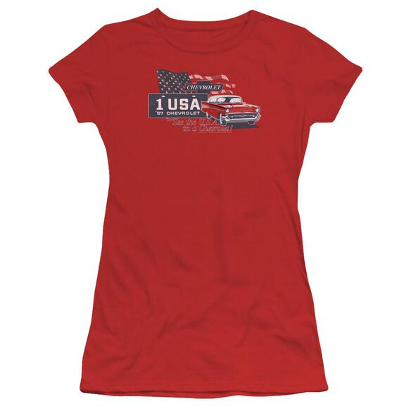 Chevrolet See The Usa Short Sleeve Junior Sheer T-Shirt