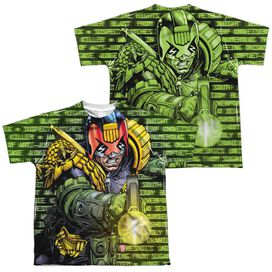 Judge Dredd Matrix (Front Back Print) Short Sleeve Youth Poly Crew T-Shirt