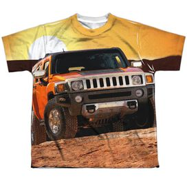 Hummer Sunset Ride Short Sleeve Youth Poly Crew T-Shirt