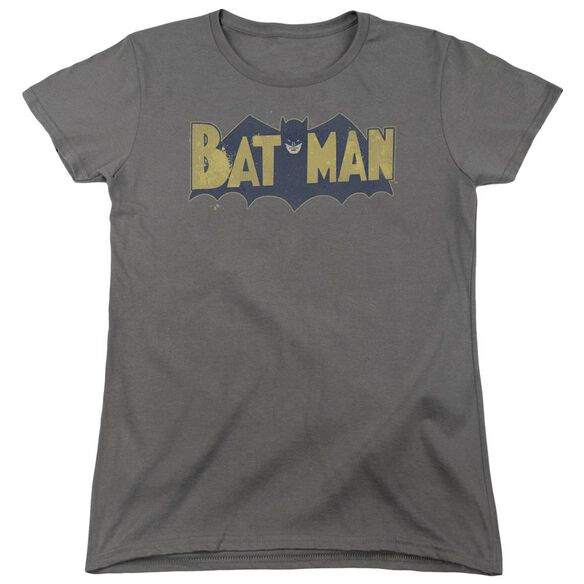 Batman Vintage Logo Splatter Short Sleeve Womens Tee T-Shirt