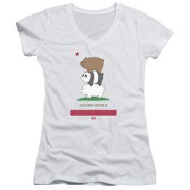 We Bare Bears Cali Stack Junior V Neck T-Shirt