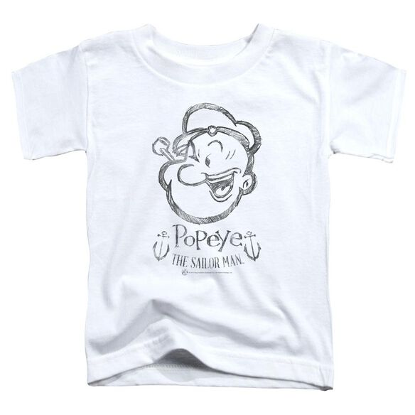 Popeye Sketch Portrait Short Sleeve Toddler Tee White Lg T-Shirt