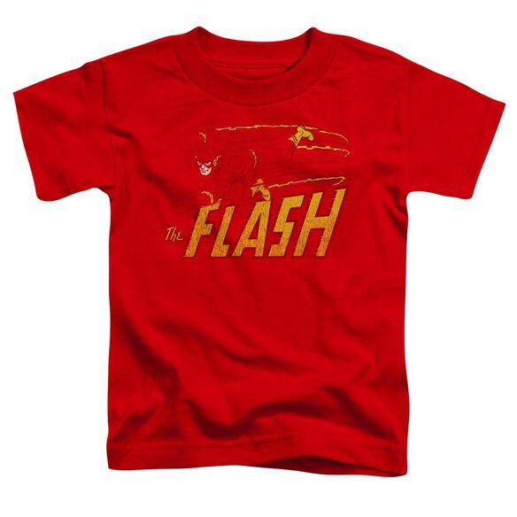 Dc Flash Speed Distressed Short Sleeve Toddler Tee Red Lg T-Shirt
