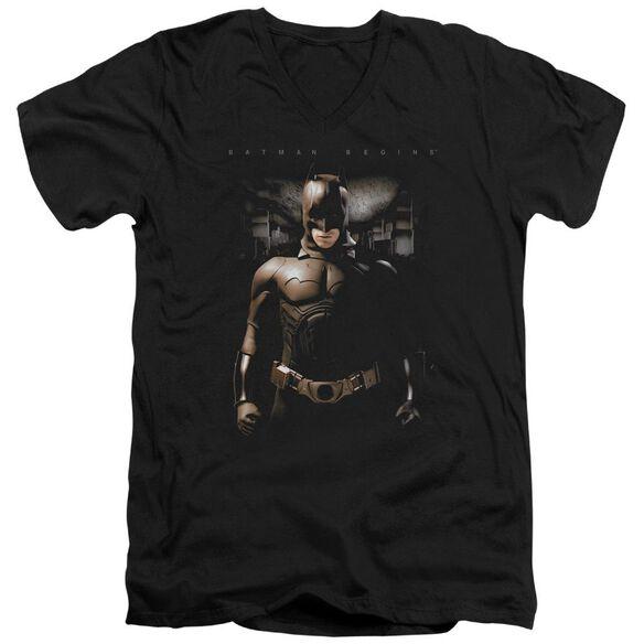 Batman Begins Gotham Bats Short Sleeve Adult V Neck T-Shirt