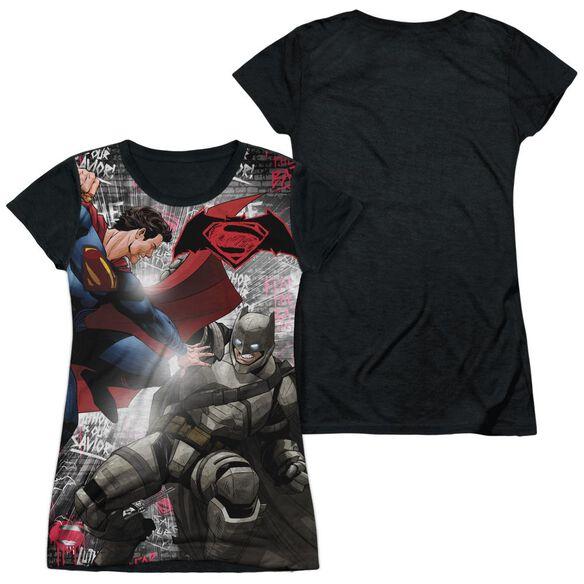 Batman V Superman Showdown Short Sleeve Junior Poly Black Back T-Shirt