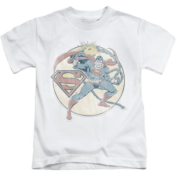 Dco Retro Superman Iron On Short Sleeve Juvenile White T-Shirt