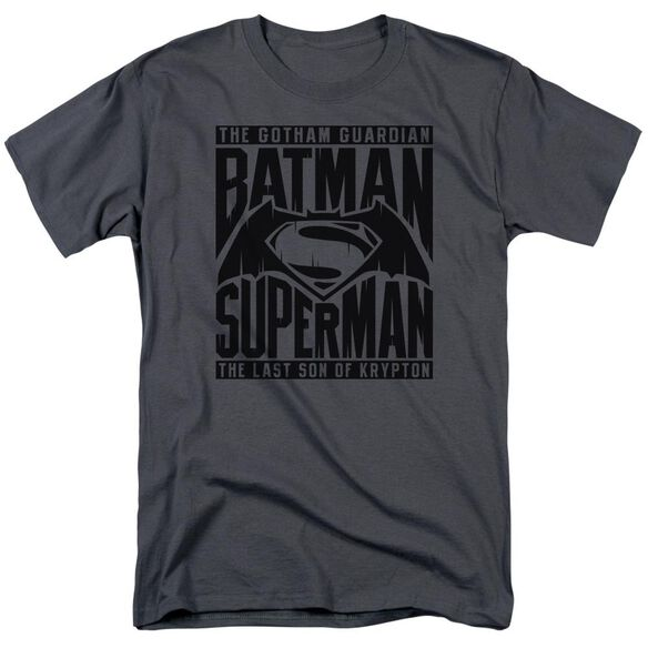 Batman V Superman Title Fight Short Sleeve Adult Charcoal T-Shirt