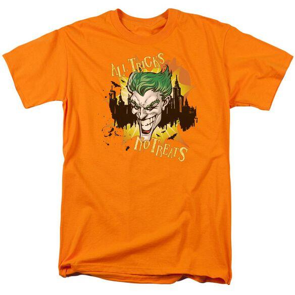 Batman All Tricks No Treats Short Sleeve Adult Orange T-Shirt