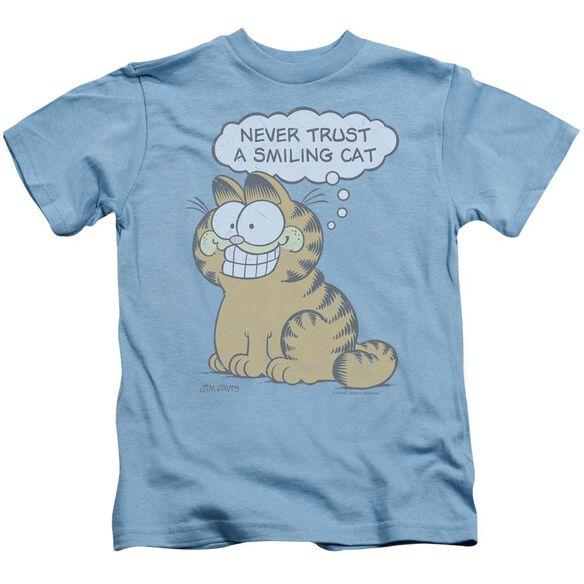 Garfield Smiling Cat Short Sleeve Juvenile Carolina Blue T-Shirt