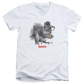 Rubik's Cube Nerd Squirrel Short Sleeve Adult V Neck T-Shirt