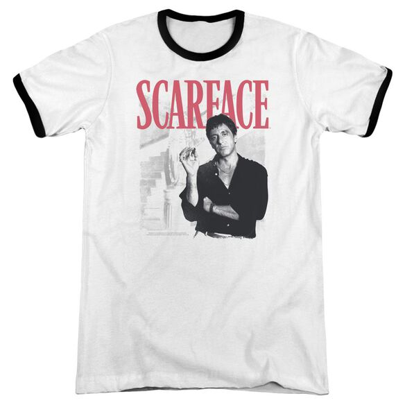 Scarface Stairway Adult Ringer White Black