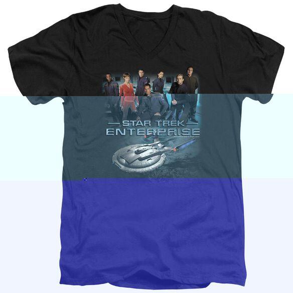 STAR TREK ENTERPRISE CREW - S/S ADULT V-NECK - BLACK T-Shirt