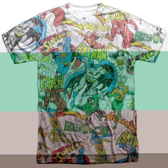 DC SUPER COLLAGE - S/S ADULT 100% POLY CREW - WHITE T-Shirt