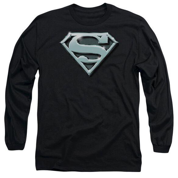 SUPERMAN CHROME SHIELD - L/S ADULT 18/1 - BLACK T-Shirt