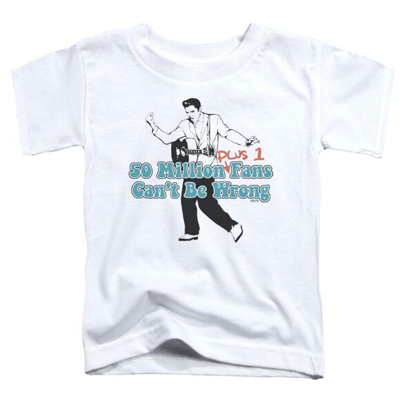 Elvis 50 Million Fans Plus 1 Short Sleeve Toddler Tee White Lg T-Shirt