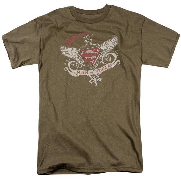 SUPERMAN VICTORIAN WINGS SUPES - S/S ADULT 18/1 - SAFARI GREEN T-Shirt