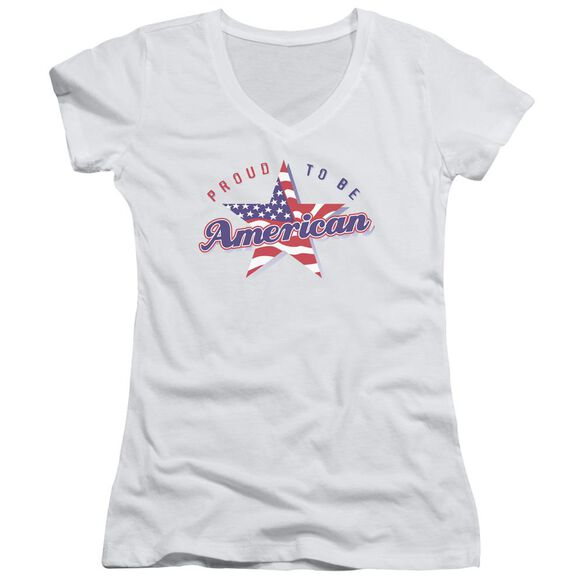 Proud To Be American Junior V Neck T-Shirt