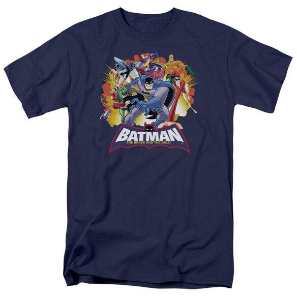 Batman Bb Explosive Heroes Short Sleeve Adult Navy T-Shirt