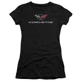 Chevrolet Corvette Modern Emblem Short Sleeve Junior Sheer T-Shirt