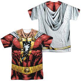 Jla Shazam Uniform (Front Back Print) Short Sleeve Adult Poly Crew T-Shirt