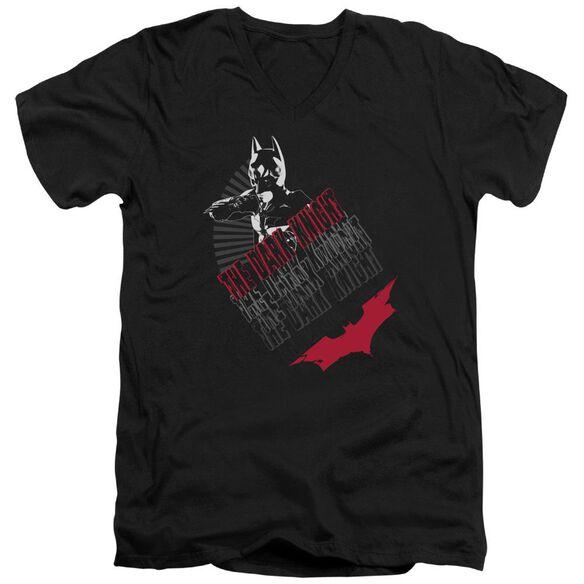 Dark Knight Stance Short Sleeve Adult V Neck T-Shirt