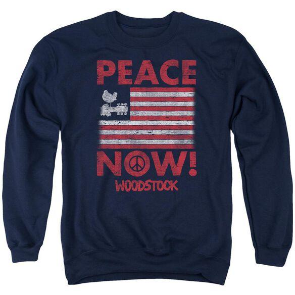 Woodstock Peace Now Adult Crewneck Sweatshirt