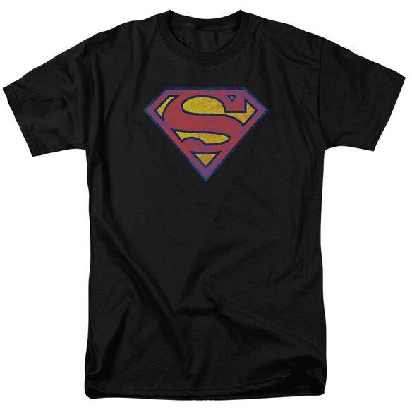 SUPERMAN SM NEON DISTRESS LOGO - S/S ADULT 18/1 - BLACK T-Shirt